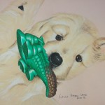 Golden Puppy with Alligator Squeaker